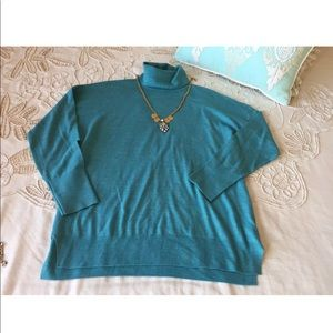 J.Crew M teal blue turtleneck merino wool sweater